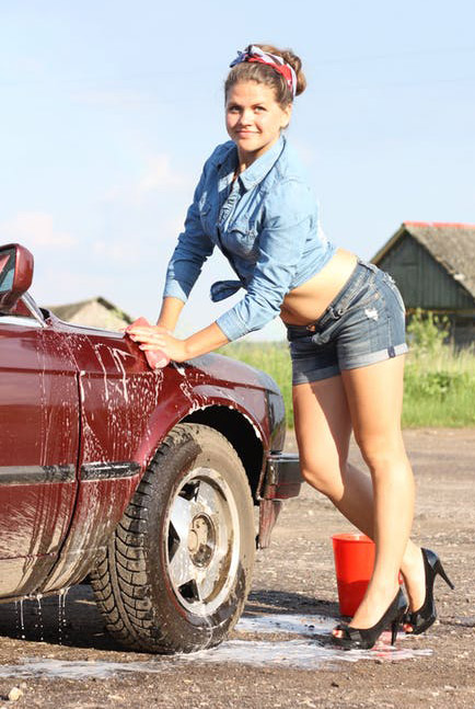 Sexy car wash girl