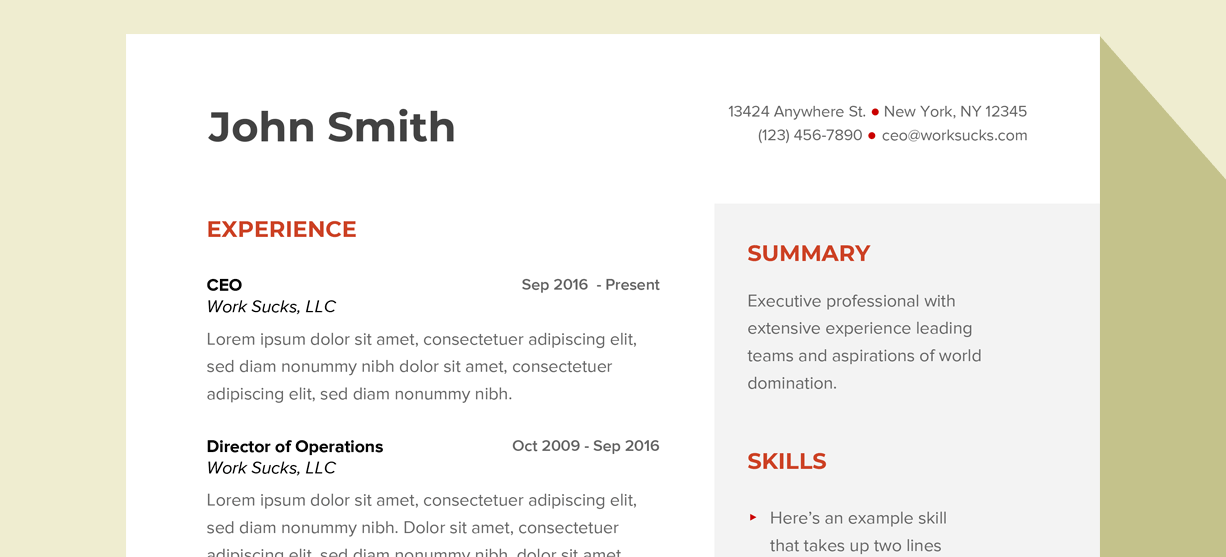 Free resume template banner