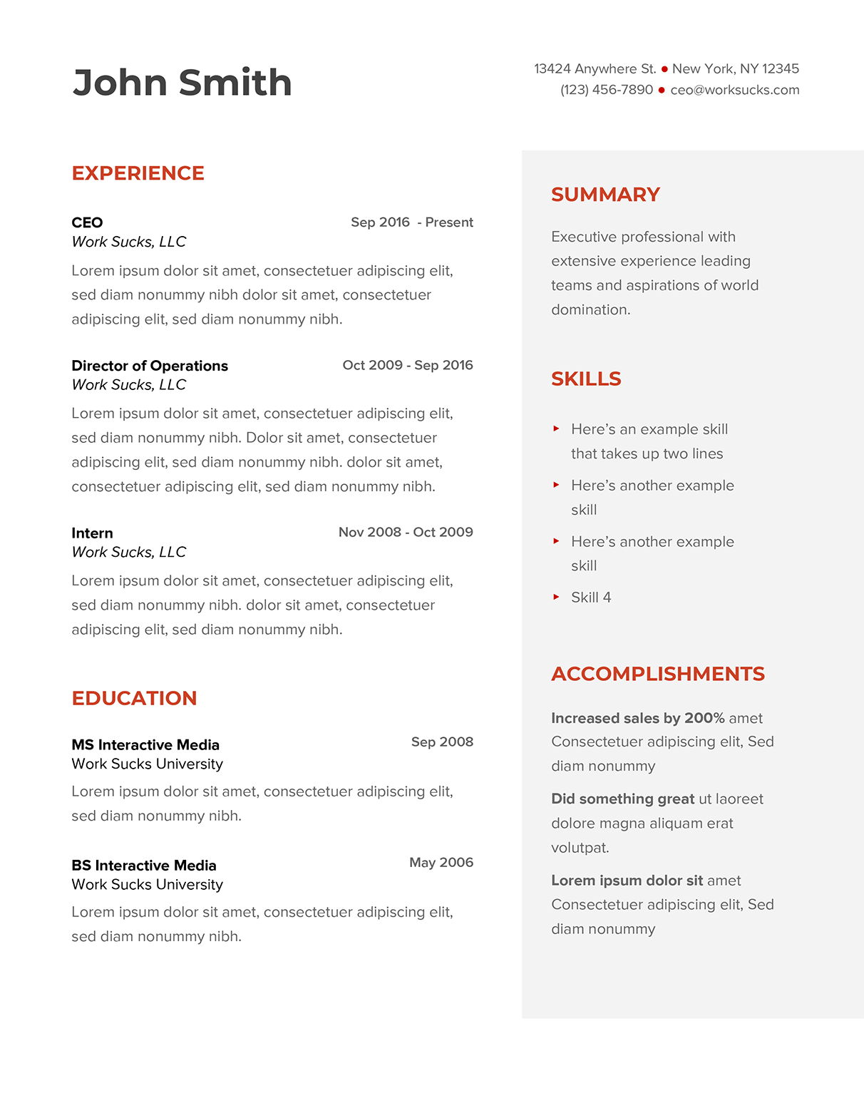 Free Google Docs Resume Template Work Sucks